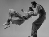 Leon James and Willa Mae Ricker Demonstrating a Step of the Lindy Hop Premium Photographic Print by Gjon Mili