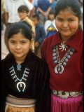 Navajo Children Modelling Turquoise Squash Blossom Necklaces Made by Native Americans Premium Photographic Print by Michael Mauney