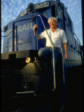 Conrail Freight Engineer Jim Metzger on Train Cab in Rail Yard Prior to Trip to Albany, NY Premium Photographic Print by Ted Thai