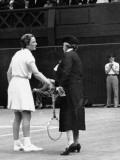 Mrs. Wrightman Speaking with Helen Jacobs During the Second Set at Wimbledon Premium Photographic Print by John Phillips