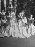 Queen of Rose Bowl Virginia Goodhue Seating with Her Court Surrounding Her Premium Photographic Print by John Florea
