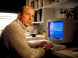 Author Calvin Trillin Working at His Computer at Home Premium Photographic Print by Ted Thai