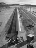 Tiny Tim Rocket Being Fired on 1,500 Foot Launcher Premium Photographic Print by J. R. Eyerman