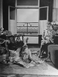 Two Women Sitting in the Living Room of their Apartment Premium Photographic Print by Hart Preston