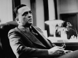 FBI Chief J. Edgar Hoover, Sitting in His Office Premium Photographic Print by Thomas D. Mcavoy