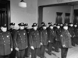 NYPD Officers Lining Up for Roll Call at the 25th Precinct Premium Photographic Print by Carl Mydans