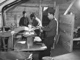 Tailors at Fort Dix Working on Company Uniforms Premium Photographic Print by George Strock