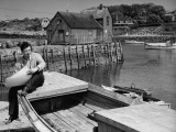 Artist John Carbino Sketching in Harbor Premium Photographic Print by Arthur Griffin