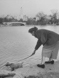 Lady with Her Dog in Central Park Premium Photographic Print by Martha Holmes