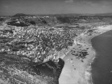 An Aerial View Showing the Fishing Village of Nazare Premium Photographic Print by Bernard Hoffman