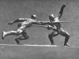 Cecil Howard's Sculpture of Two Men Fencing Premium Photographic Print by Andreas Feininger