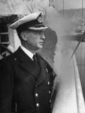 Commander Manuel Guarello Watching from the Bridge Premium Photographic Print by Hart Preston