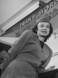 Twa Stewardess Jean Herman at Shannon Airport Premium Photographic Print by Nat Farbman