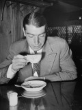 New York Yankee Joe Dimaggio Drinking Coffee Premium Photographic Print by Carl Mydans