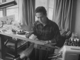 """Gordo"" Cartoonist Gus Arriola Working at His Desk Premium Photographic Print by John Florea"