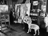 Artist John Carbino in His Studio Premium Photographic Print by Arthur Griffin