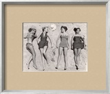 Models Sunbathing, Wearing Latest Beach Fashions Framed Photographic Print by Nina Leen
