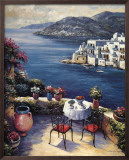 Mediterranean Vistas w Black Chairs Prints by John Zaccheo
