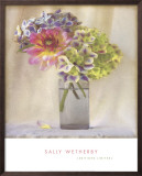 Dahlia with Hydrangeas II Print by Sally Wetherby