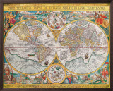 Antique Map, Orbis Terrarum, 1636 Poster by Jean Boisseau