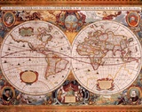 Antique Map, Geographica, c.1630 Poster by Henricus Hondius