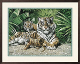 Yellow Tigers with Cubs Print by Gary Ampel