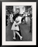 American Sailor Clutching a White-Uniformed Nurse in a Passionate Kiss in Times Square Framed Photographic Print by Alfred Eisenstaedt
