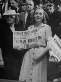 Harry S. Truman's Daughter Margaret, Holding Up a Newspaper Declaring Her Father the Winner of Nom. Premium Photographic Print