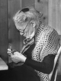 Old Age Essay: Woman Knitting Premium Photographic Print