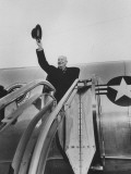 President Dwight D. Eisenhower Boarding Plane at Airport Leaving for Nato Conference in Paris Premium Photographic Print