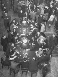 Overhead View of People Playing Roulette at the Sinaia Casino Premium Photographic Print