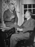 Washington Governor Monrad C. Wallgren and President Harry S. Truman Chatting in an Office Premium Photographic Print