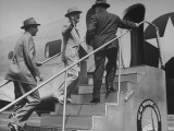 President Harry S. Truman Ascending a Stairway to an Airplane Premium Photographic Print