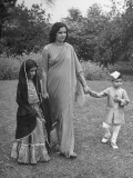 A Woman and Her Children Modelling Indian Fashions Premium Photographic Print