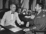 Major General Mark with Clark Visting President Harry S. Truman at the White House Premium Photographic Print