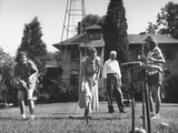 Charles V. Broadley Playing Croquet with His Family after Wife's Recovery from Blindness Premium Photographic Print