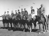 US and Mexico Polo Team Members Posing on Horseback Premium Photographic Print