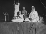 Hindu Leader Mohandas Gandhi with Others Participating in Twilight Prayer Premium Photographic Print