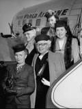 Members of Mrs. Harry S. Truman's Bridge Club Alighting from an Airplane Premium Photographic Print