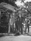President Harry S. Truman Returning from Lunch with Lewis B. Schwellenbach and Harry H. Vaughan Premium Photographic Print
