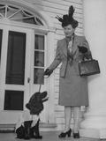 Mrs. Wade Hampton Haislip and Her Dog, Smokey, Attending the Dog Fashion Show Premium Photographic Print