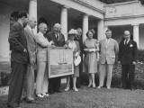 Congressman Robert L. Doughton Presenting Painting to President Harry S. Truman in the Rose Garden Premium Photographic Print