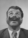 Member of Handlebar Club Looking Up with Mustache Swept Up Premium Photographic Print