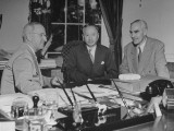 President Harry Truman with Dr. Wellington Koo and under Scretary Joseph C. Grew in the Oval Office Premium Photographic Print