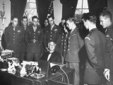 President Franklin D. Roosevelt Meeting Veterans Who are in Uniform at the White House Premium Photographic Print