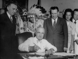 President Harry S. Truman Signing Indian Claims Bill Premium Photographic Print