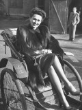 Soviet-Born Woman Planning to Go to Us, Sitting in Rickshaw Premium Photographic Print
