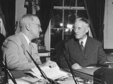 Harry S. Truman and Henry L. Stimson Preparing to Sign Radification of UN Charter Premium Photographic Print