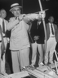 Governor Lewis O. Barrow Mixing Archery and Politics While Campaigning for Reelection Premium Photographic Print