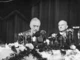 President Franklin D. Roosevelt Speaking at the Waldorf Astoria as Frank Mc Cary Listens Premium Photographic Print